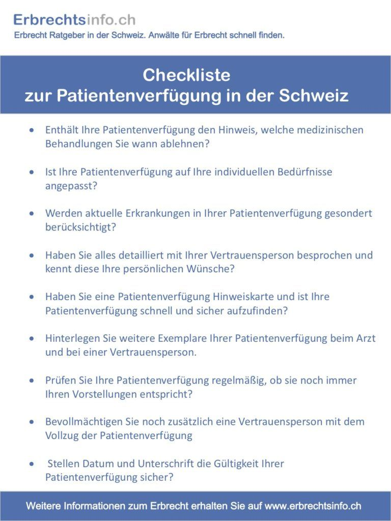 Checkliste Patientenverfügung Schweiz