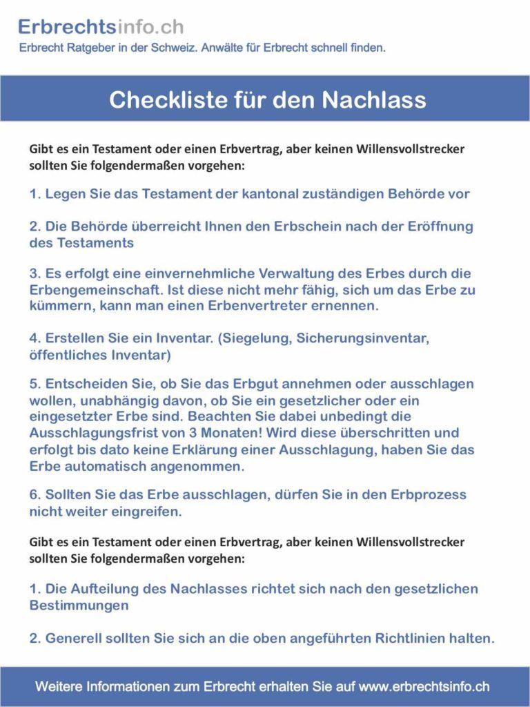 Checkliste für den Nachlass