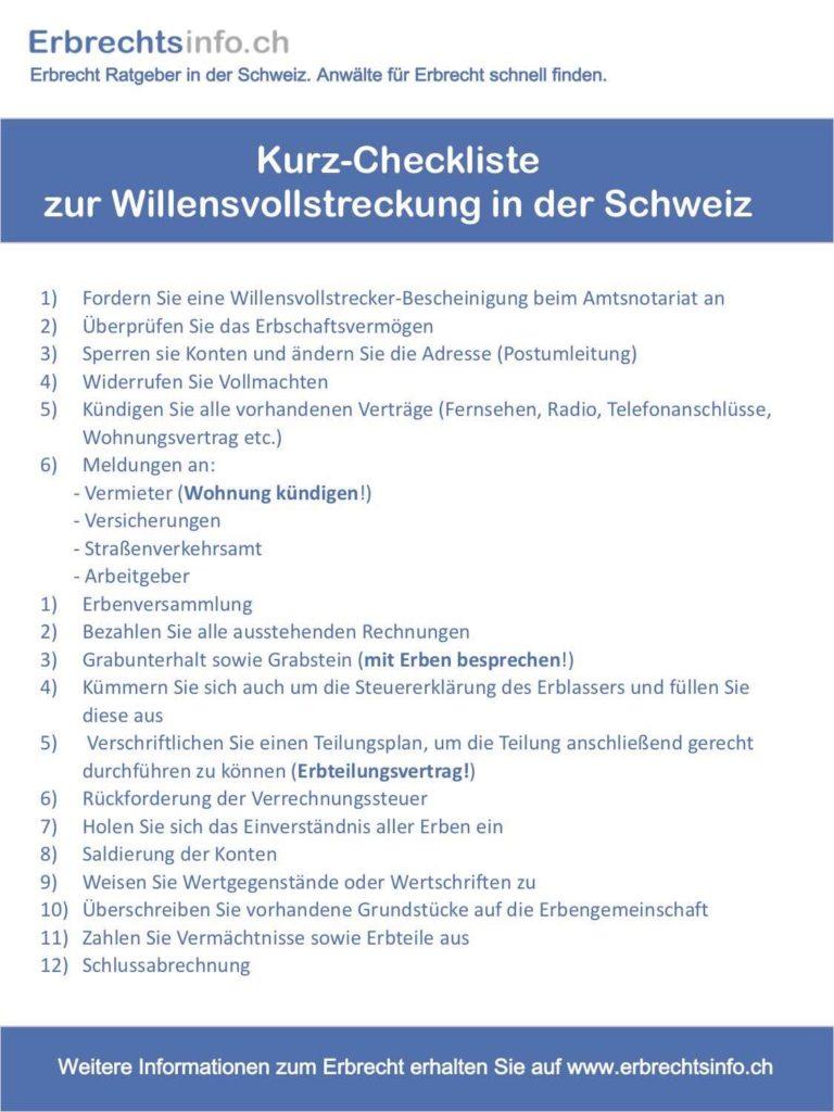 Willensvollstreckung Schweiz
