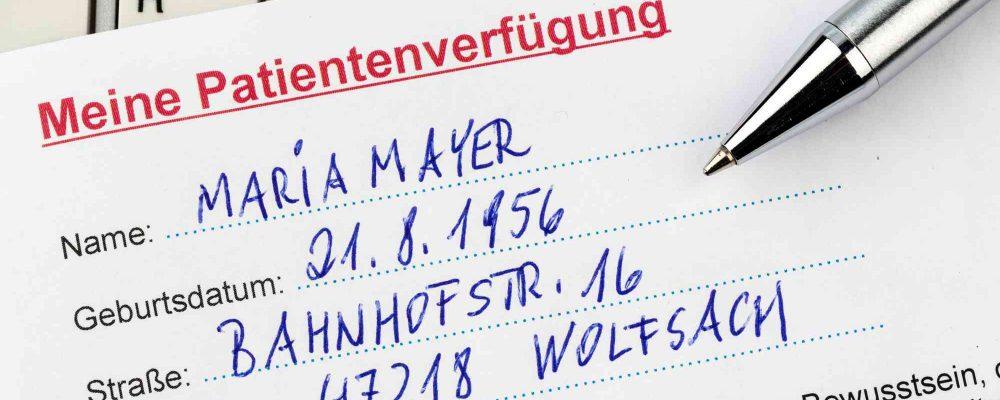 Ein Beispiel einer Patientenverfügung auf Deutsch.